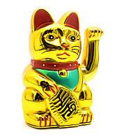 Кошка Манэки-нэко машущая лапой (12,5х7,5х6,5 см)(0255A)(батарейки в комплект не входят)