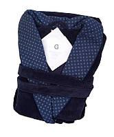 Велюровый мужской халат VENTURA. Синий, все размеры.