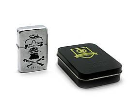Зажигалка бензиновая, бронзовая, в подарочной упаковке (T01-7557a)