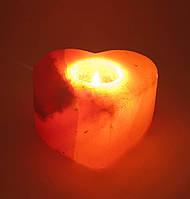 "Подсвечник соляной ""Сердце""(ch-3)(11,5х11х6 cm)(18 шт ящ.)(Гималайская соль)"