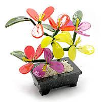 Дерево с цветами (7 цветков)(17х10х6 см)(B35)