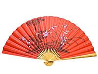 """Веер настенный """"Сакура с бамбуком на красном фоне"""" шелк (90см)"""