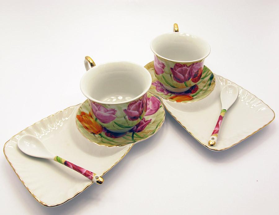 "Сервиз фарфор (2C3050) 2 чашки + 2 блюдца ""Тюльпаны"" (170 мл)(12 шт. в ящ.)"