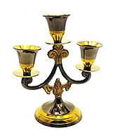 """Подсвечник бронзовый на 3 свечи """"Антик"""" (14х12х7 см)(Candle Stand 3C Tree Antic)"""