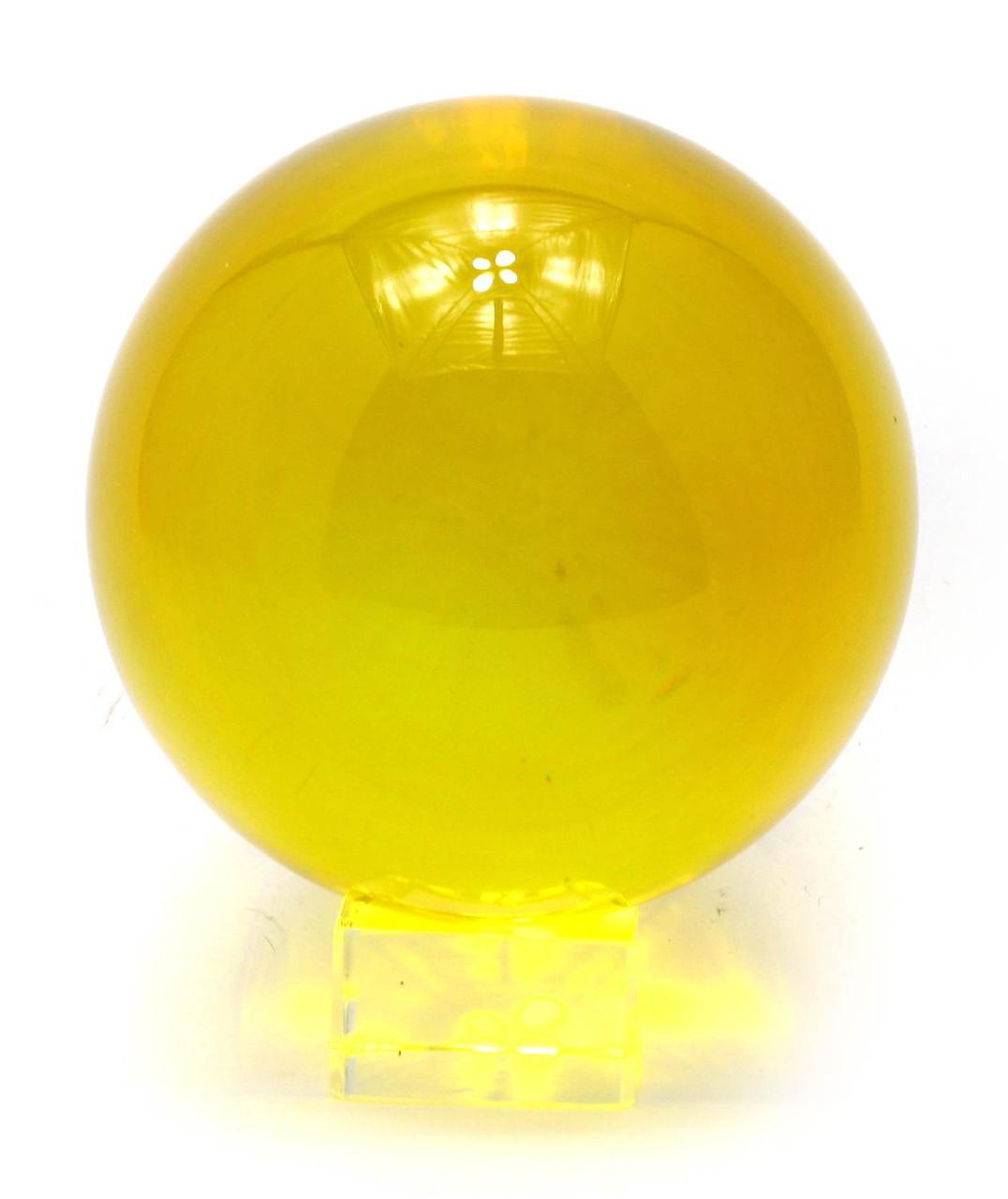 Шар хрустальный на подставке желтый (11 см)