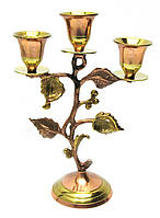 Подсвечник бронзовый на 3 свечи (19,5х13х7 см)(Candle Stand 3C Leaf Copper)
