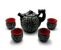 """Сервиз керамический """"Дракон с иероглифами"""" (чайник ,4 чашки)(32х15х11,5 см)(S034)"""