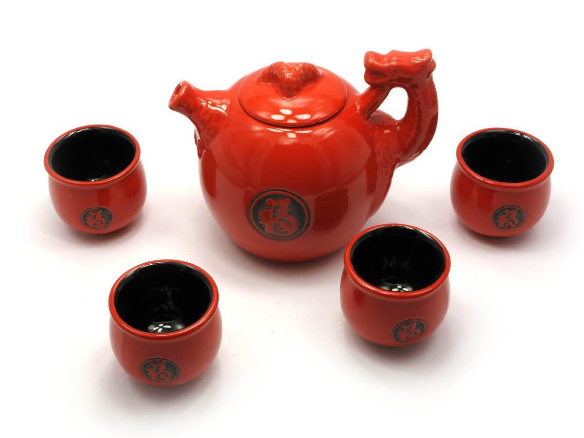 "Сервиз керамический ""Дракон"" (чайник ,4 чашки)(35х15х12 см)(S034A)"