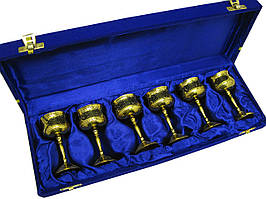 Бокалы бронзовые позолоченные (н-р 6 шт)(h-9 см)(37х12,5х5 см)