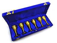 Бокалы бронзовые позолоченные (н-р 6 шт/60мл.)(h-9,5 см)
