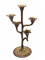 Подсвечник на 5 свечей бронзовый (30х15х12 см)(Candle Stand 5C Leaf antic)