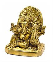 Ганеша с павлином бронза (12х10,5х7,2 см) (Ganesh Peacock BL)