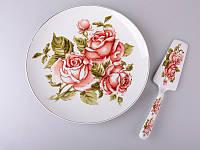 """Тортовница-тарелка 26 см. с лопаткой фарфоровая """"Три розы"""" белый"""