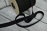 Косая бейка из хлопка черного цвета 18 мм., фото 2