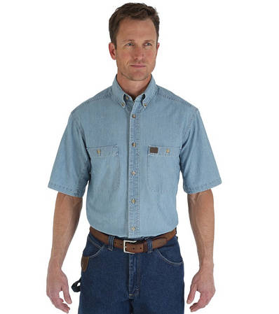 Джинсовая рубашка с коротким рукавом Wrangler - Light Blue