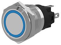 Кнопка металлическая c фиксацией, с подсветкой, под fast-on, пайку