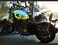 Подсветка на мотоцикла—холодным гибким неоном.