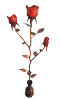 Роза деревянная,резная в вазе