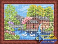 Схема для вышивки бисером - Мельница у речки и лебеди, Арт. ПБп3-40