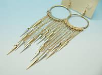Круглые серьги с золотыми и серебряными шипами на цепочках .206