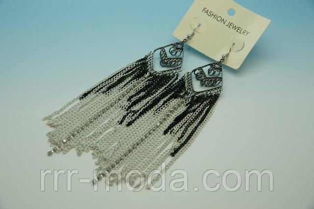 Модные длинные серьги с цепями .454