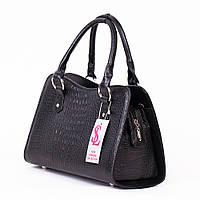 Крокодиловая сумка трапеция черная женская деловая