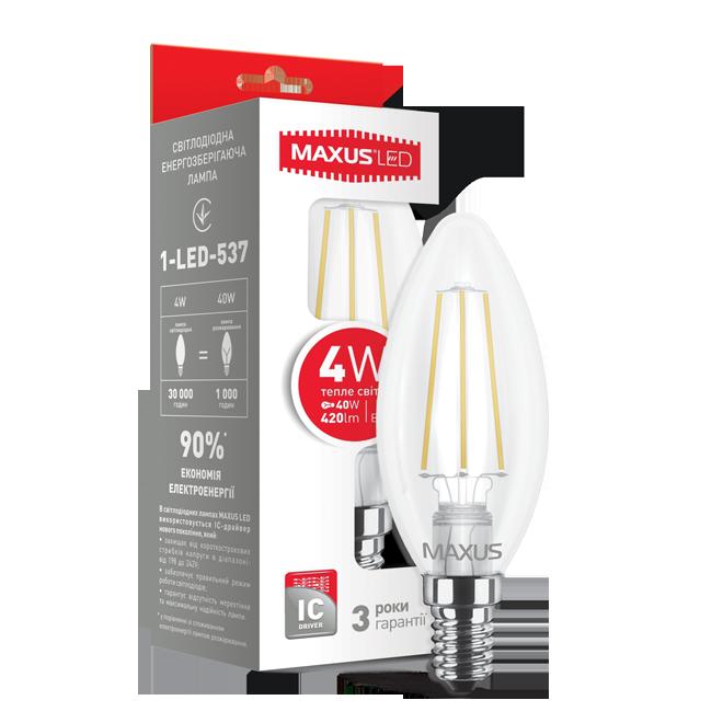 Светодиодная лампа MAXUS 4Вт C37/филамент E14 Теплый Белый 3000К