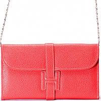 Женский кошелек клатч на цепочке  малино розовый