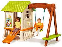 Детский игровой домик-площадка Winnie Smoby, качеля+горка