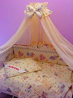 Постель «ASIK» мишки на подушках с голубыми звёздочками ( 8 эл.) №117