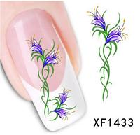 """Наклейка на ногти, наклейка для ногтей, ногтевой дизайн """"голубоые цветы"""" 15 шт набор"""