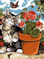 Раскраска по номерам Турбо Котенок с геранью (VK119) 30 х 40 см