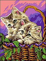 Картина-раскраска Турбо Котики в корзинке (VK120) 30 х 40 см