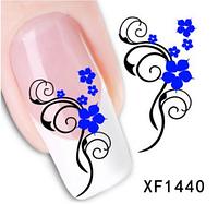 """Наклейка на ногти, наклейка для ногтей, ногтевой дизайн """"синие цветы"""" 15 шт набор"""