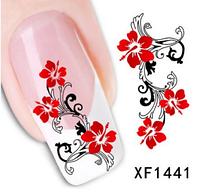 """Наклейка на ногти, наклейка для ногтей, ногтевой дизайн """"красные цветы"""" 15 шт набор"""
