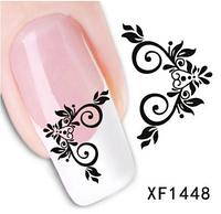 """Наклейка на ногти, наклейка для ногтей, ногтевой дизайн """"черные цветы"""" 15 шт набор"""
