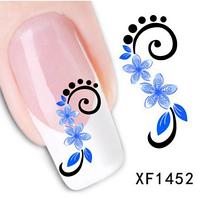 """Наклейка на ногти, наклейка для ногтей, ногтевой дизайн """"голубые цветы"""" 15 шт набор"""