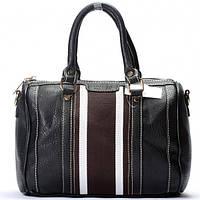 Черная сумка Gucci черная с белыми полосками