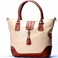 Женская сумка Gucci  бежевая с коричневым