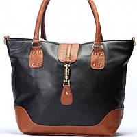 Женская сумка Gucci черная с коричневым