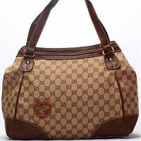 Женская сумка Gucci  абрикосовая с коричневыми вставками