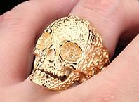 Перстень мужской Череп золотой