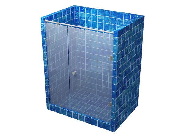 Душевая кабина 180 градусов с распашной дверью на стекле