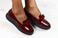 Туфли из лакированной кожи с бантом бордовые, фото 1