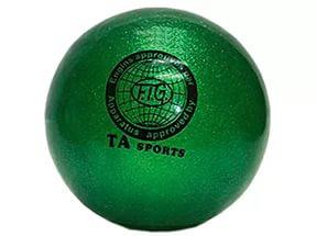Мяч для художественной гимнастики D-19 см зеленый с блестками