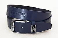 Кожаный синий ремень для джинс, фото 1