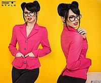 Женский пиджак трикотажный на пуговицах