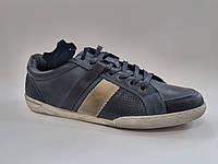 Кожаные польские мужские удобные стильные синие спортивные туфли Mazaro