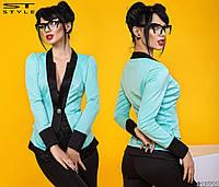 Женский пиджак двухцветный на пуговице