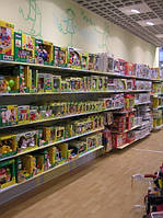 Стеллажи с полками ВИКО для детских магазинов. Торговое оборудование WIKO для магазина игрушек